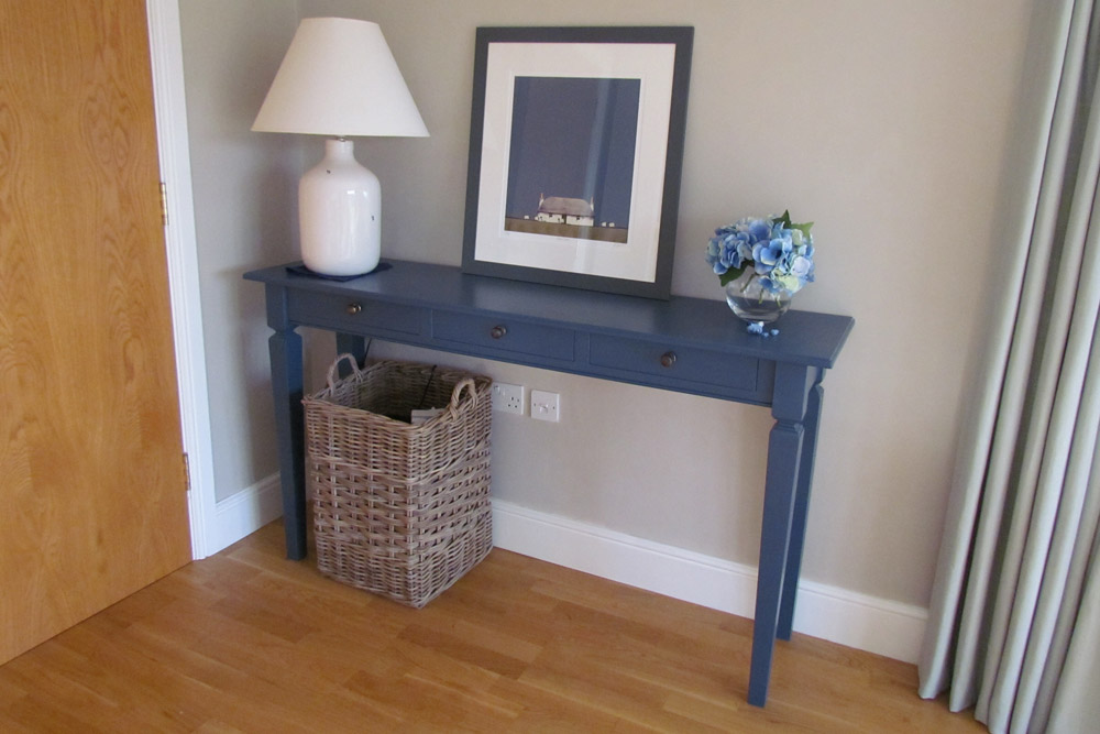 Console Table finished in Stiffkey Blue Farrow and Ball paint