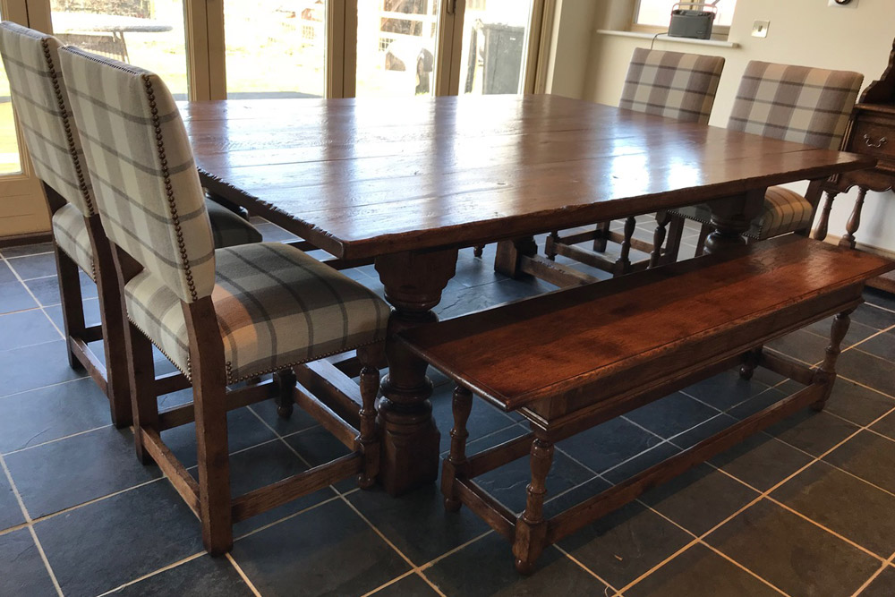 Cromwellian Oak Side Chairs, Oak Table with thick top and benches to match