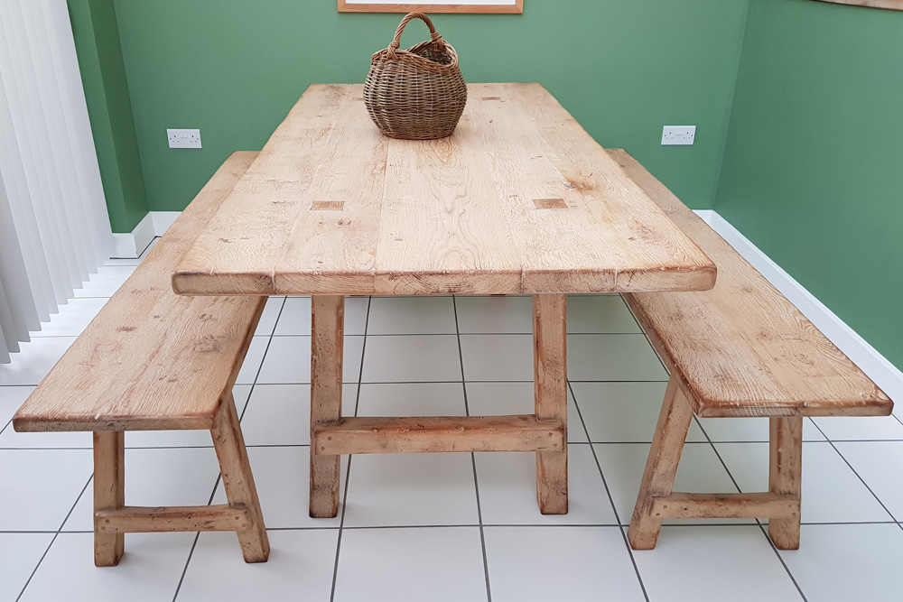 Weathered Oak Table and Benches to match finished in Oatmeal